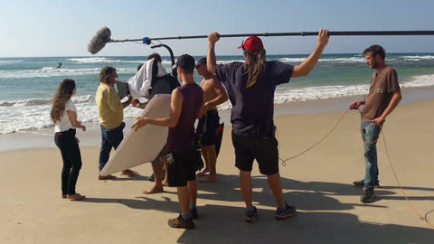 Tel - Aviv, Israel – October 26, 2016: Large film crew on the set of the movie ビデオ