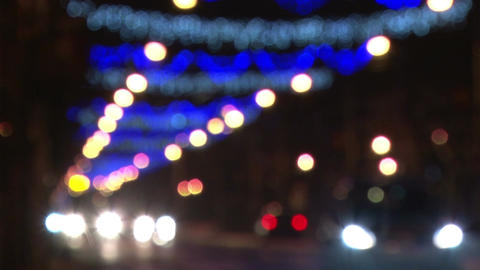 Out of focus Christmas street lights Footage