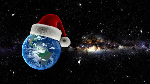 Christmas Earth with Santas hat and Milky Way Animation