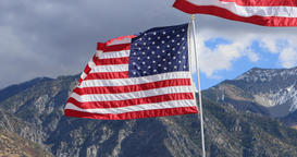 United States of America flags mountain DCI 4K 631 Footage
