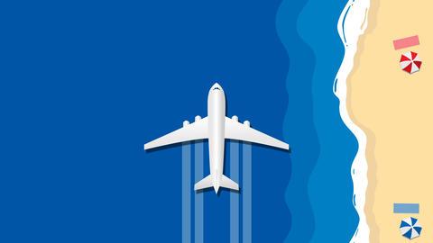 Airplane animation fly over blue sea along sunny beach Animation