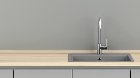 Modern kitchen with gray sink and steel faucet Animation