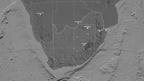 Zoom-in on South Africa outlined. Grayscale contrasted Animation