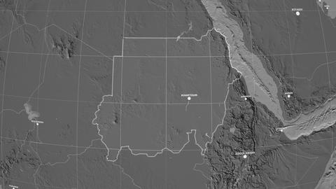 Zoom-in on Sudan outlined. Grayscale contrasted Animation