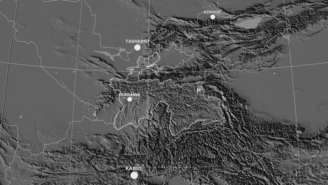 Zoom-in on Tajikistan outlined. Grayscale contrasted Animation
