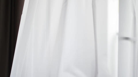 White curtains made of soft luxury fabric as window decoration material, home Live Action