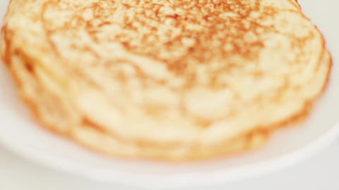 Traditional french crepe recipe on frying pan, homemade thin pancakes for Live Action
