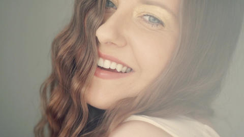 Beautiful toothy smile of young woman with perfect healthy white teeth, health Live Action