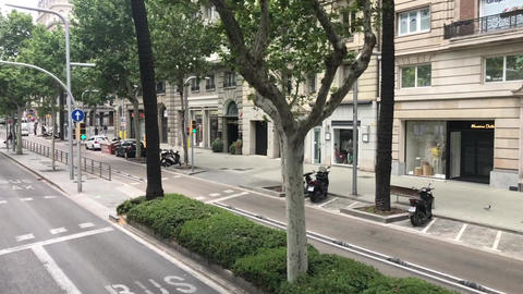 Barcelona, Spain. A street scene with focus on the side of a road Live Action