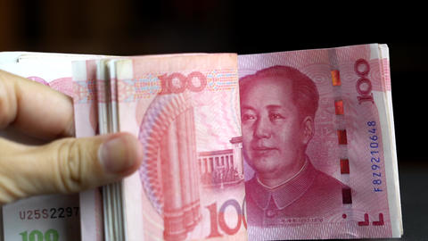 Chinese currency banknotes. Chinese yuan Live Action