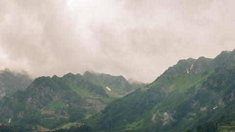Mountainside in clouds. Spole. TimeLapse. Sochi, Russia Footage