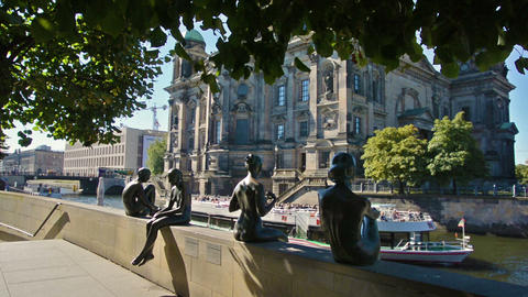 Berlin, Germany. Circa August 2016. Statues along the Spree river bank opposite Footage