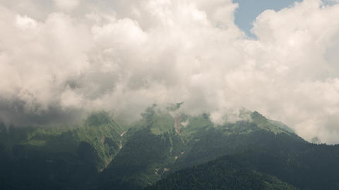 Mountainside in clouds. Slope. TimeLapse. Ridge Aibga, Rosa Khutor, Sochi, Russi Footage