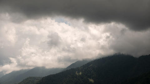 Storm clouds over the slopes. Time Lapse. Krasnaya Polyana. Sochi, Russia Footage