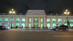 Gostiny Dvor department store facade at night, Nevsky Prospect Footage