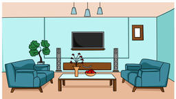 living room sketch illustration hand drawn animation transparent Footage