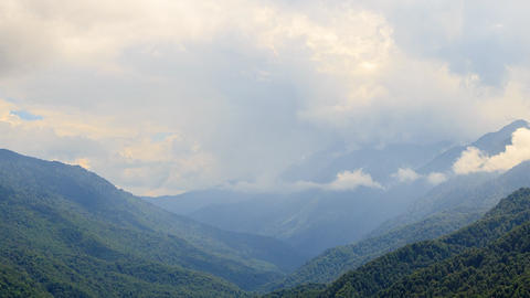 Mountainside in clouds. Slope. TimeLapse. Ridge Aibga, Rosa Khutor, Sochi, Russi Footage