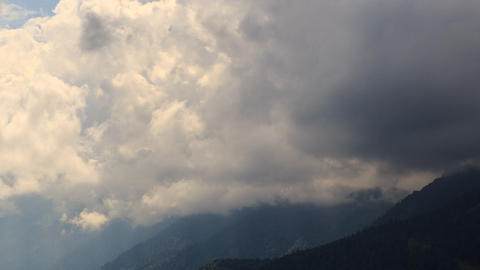 Rain clouds in the mountains. Panorama. TimeLapse. Krasnaya Polyana. Sochi, Russ Footage