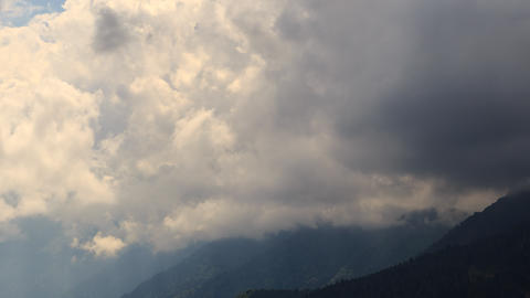 Dense clouds of in the mountains. Time Lapse. Krasnaya Polyana. Sochi, Russia Footage