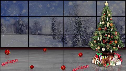 Christmas TV Studio Set 15- Virtual Background Loop Footage