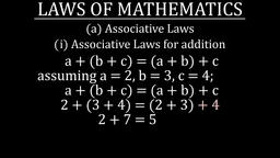 Law of Association for addition Animation