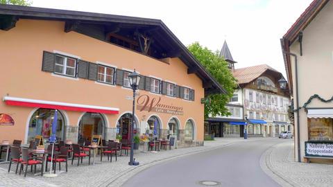 Historic District of Oberammergau - OBERAMMERGAU, BAVARIA - MAY 26, 2020 Live Action