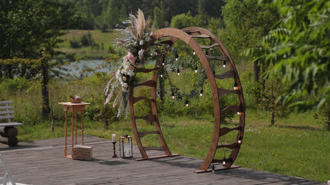 decorated arch on the exit registration. Decor exit registration in nature Live Action