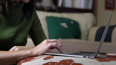 Businesswoman typing on her computer keyboard on top of couch. Home setting. Work at home concept Live Action