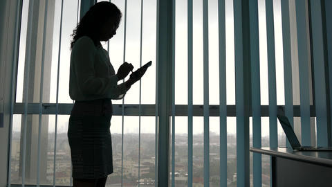 Silhouette of a businesswoman standing and surfing or texting on her cellphone in the office Live Action