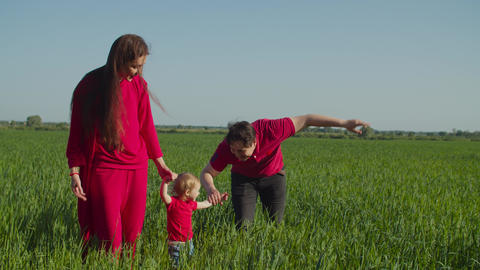 Carefree family with baby relaxing in countryside Live Action