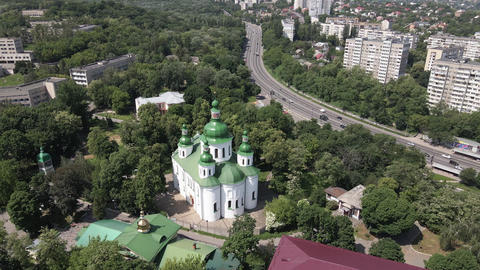 The architecture of Kyiv. Ukraine: St. Cyril Church in Kyiv. Ukraine. Aerial Live Action