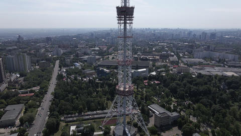 The architecture of Kyiv. Ukraine: TV tower. Aerial view. Slow motion Live Action