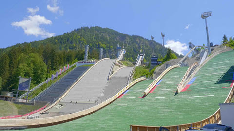 World famous Ski Jump Arena in Oberstdorf Germany - OBERSTDORF, GERMANY - MAY 25 Live Action