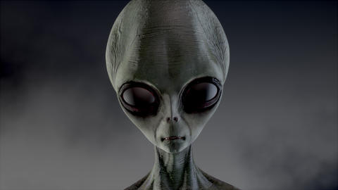 Scary gray alien stands and looks blinking on a dark smoky background. UFO ライブ動画
