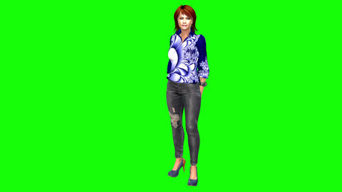 776 4k 3d computer generated chique woman waiting for sombody in stylish clothes Animation