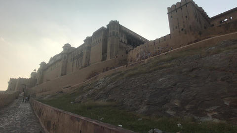 Jaipur, India, November 05, 2019, Amer Fort, stylish wall structure from the Live Action