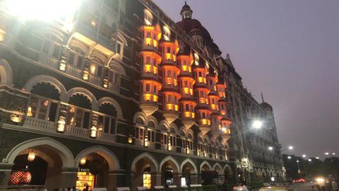 Mumbai, India - evening illumination of the facade Live Action