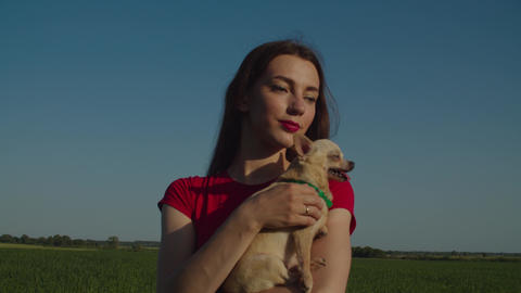 Relaxed pretty woman holding chihuahua dog outdoors Live Action