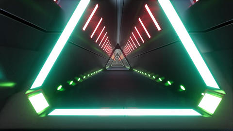 Neon corridor tunnel in abstract style. Game design. Neon light. Led light Live Action