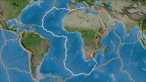 africa tectonic plate. Satellite imagery A. Borders first. Van der Grinten projection Animation