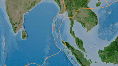 burma tectonic plate. Satellite imagery A. Borders first. Van der Grinten projection Animation