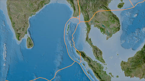 burma tectonic plate. Satellite imagery B. Borders first. Van der Grinten projection Animation