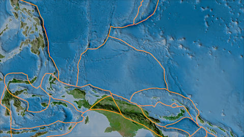 caroline tectonic plate. Satellite imagery B. Borders first. Van der Grinten projection Animation