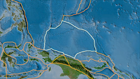 caroline tectonic plate. Satellite imagery B. Stroke first. Van der Grinten projection Animation