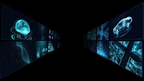 Digital Network Technology AI artificial intelligence data concepts Background B Tate A3 2x2 blue CG動画