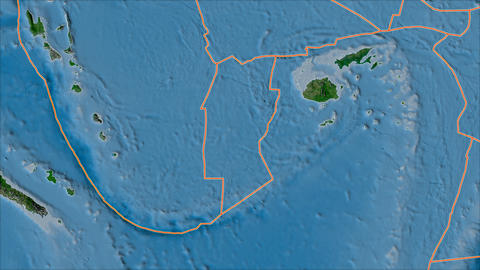 conway reef tectonic plate. Satellite imagery A. Borders first. Van der Grinten projection Animation