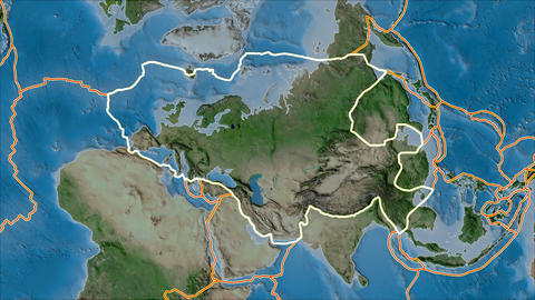 eurasia tectonic plate. Satellite imagery A. Stroke first. Van der Grinten projection Animation