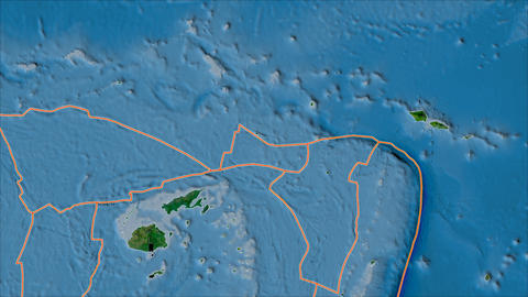 futuna tectonic plate. Satellite imagery A. Borders first. Van der Grinten projection Animation