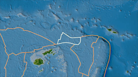 futuna tectonic plate. Satellite imagery B. Stroke first. Van der Grinten projection Animation