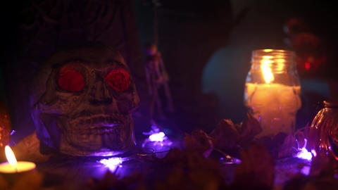Day of the dead scenery in fog and candlelight looped background Live Action